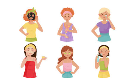 Young Girls Applying Cosmetic Cream, Oil and Facial Mask Vector Illustrations Set
