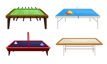 Tables for Board Games with Tennis Table and Foosball Table Vector Set. Party Games for ompetitive Play Concept