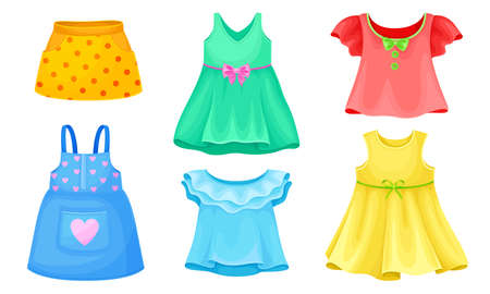 Bright Seasonal Clothes for Girls with Sleeveless Dress and Flared Skirt Vector Set  イラスト・ベクター素材