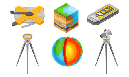Geology Measurement Instruments with Soil Cross Section and Tripod Device Vector Set  イラスト・ベクター素材