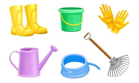 Garden Tools with Watering Can and Ironmongery Vector Set Ilustración de vector