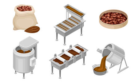 Conveyer Belt with Chocolate Sweets Rested on It and Cocoa Beans as Main Ingredient Vector Set
