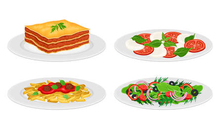 Italian Dishes with Vegetable Salad and Pasta with Tomato Sauce Served on Plates Side View Vector Set