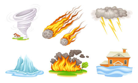 Natural Cataclysms with Fire Accident and Tornado Vector Illustrations Set