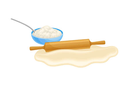 Rolling Pin Flattening Dough as Baking Process Vector Illustration