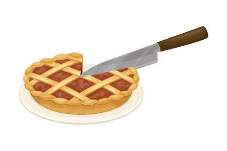 Knife Cutting Pie Rested on Plate Vector Illustration Illusztráció