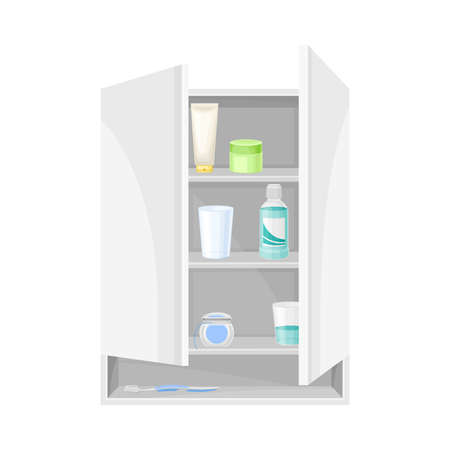 Bathroom Wall Cabinet with Shelves and Hygienic Accessories Vector Illustration