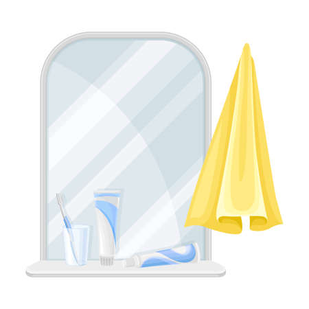 Mirror and Shelf with Toothbrush and Toothpaste as Bathroom Accessory Vector Illustration