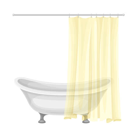 Bathtub with Hanging Shower Curtain as Home Amenity Vector Illustration Ilustração