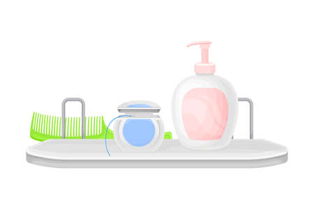Hygienic Accessories with Soap and Dental Floss Rested on Shelf in the Bathroom Vector Illustration 矢量图像