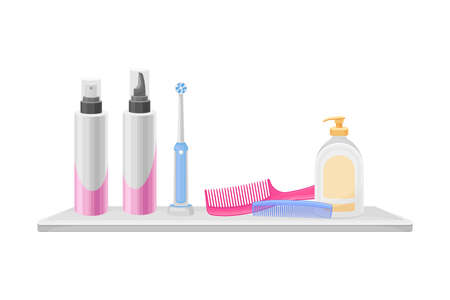 Hygienic Accessories with Soap and Toothbrush Rested on Shelf in the Bathroom Vector Illustration