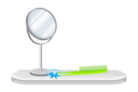 Hygienic Accessories with Mirror and Comb Rested on Shelf in the Bathroom Vector Illustration