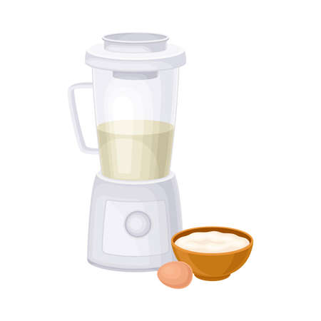 Mixing Ingredients in Blender as Baking Process Vector Illustration