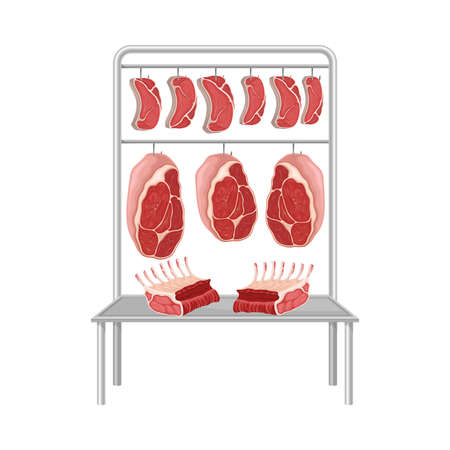 Beef Steaks and Slabs Hanging on Metal Hooks Vector Illustration