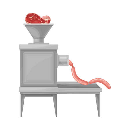 Metal Mincing Machine with Beef Meat Molding Into Sausage Vector Illustration