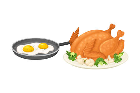 Roasted Chicken Served on Plate and Scrambled Egg in Frying Pan Vector Illustration