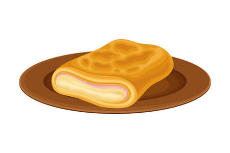 Rolled Pastry with Filling as Brazilian Cuisine Dish Vector Illustration