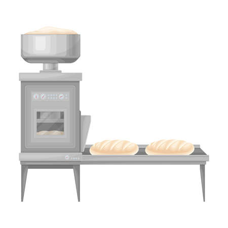 Conveyor Line with Molded Bread as Stage of Bread Production Vector Illustration
