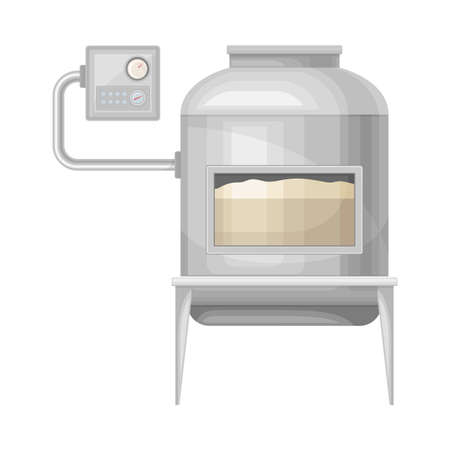 Kneading Dough Equipment as Stage of Bread Production Process Vector Illustration