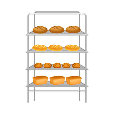 Rack with Loaf of Freshly Baked Bread Vector Illustration Ilustracja