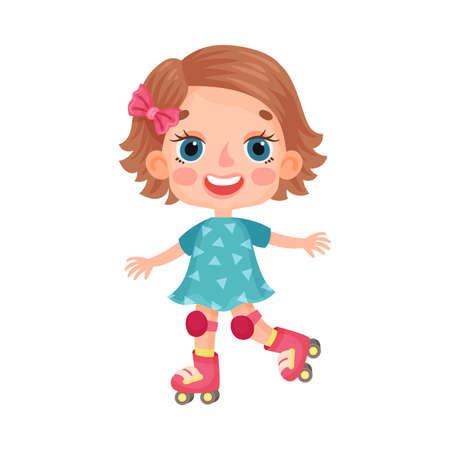 Cute Girl Character in Dress Roller Skating Vector Illustration  イラスト・ベクター素材