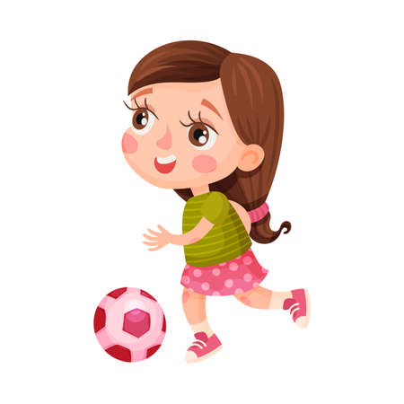 Cute Girl Character Wearing Trainers Playing Football Vector Illustration  イラスト・ベクター素材