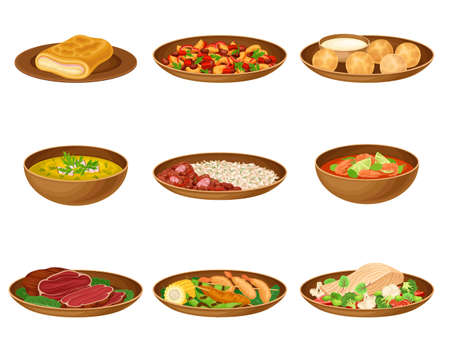 Brazilian Cuisine Dishes with Stewed Beans and Fruit Salad Vector Set