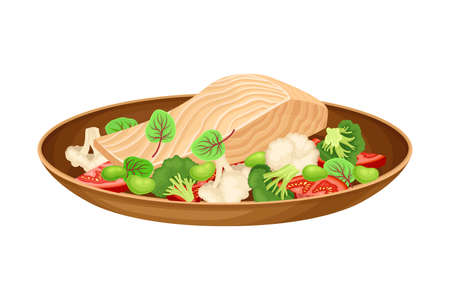 Fish Slab with Fresh Vegetables as Brazilian Cuisine Dish Vector Illustration