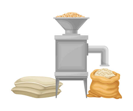 Grain Grinding Equipment and Flour Making Machine Vector Illustration