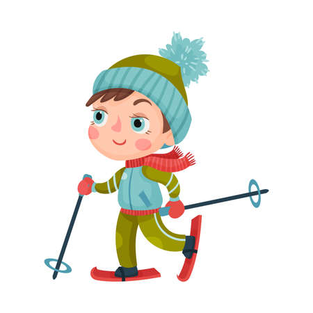 Excited Boy Character in Winter Sportswear Skiing Vector Illustration