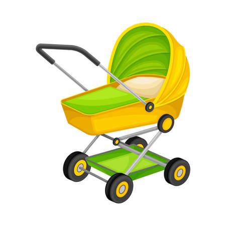 Baby Carriage for Newborn Transportation Isolated on White Background Vector Illustration. Pram or Pushchair for Walking Outside Concept