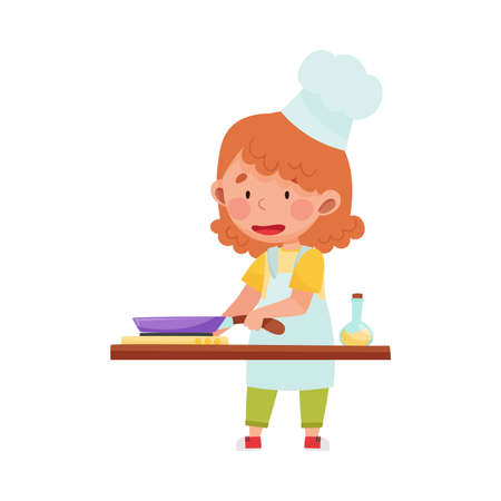 Cute Girl Character in Hat and Apron Standing at Kitchen and Heating Oil in Frying Pan Vector Illustration. Little Kid Chef Engaged in Cooking Concept