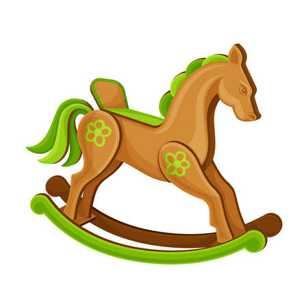 Wooden Rocking Horse as Baby Toy Vector Illustration. Nursery or Children Room Accessory Ilustracja