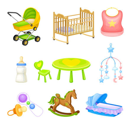 Baby Nursery Objects with Hanging Toy and Baby Carriage Vector Set. Different Elements of Children Room Concept