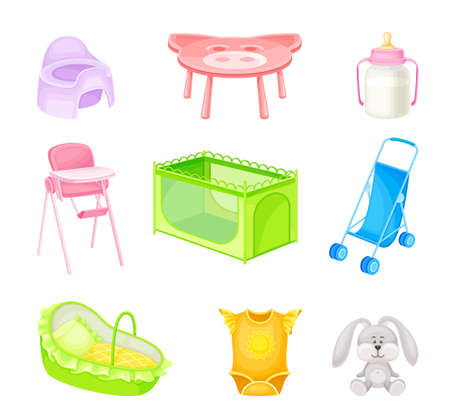 Nursery Objects with Fluffy Toy Hare and Baby Chair Vector Set. Different Elements of Children Room Concept