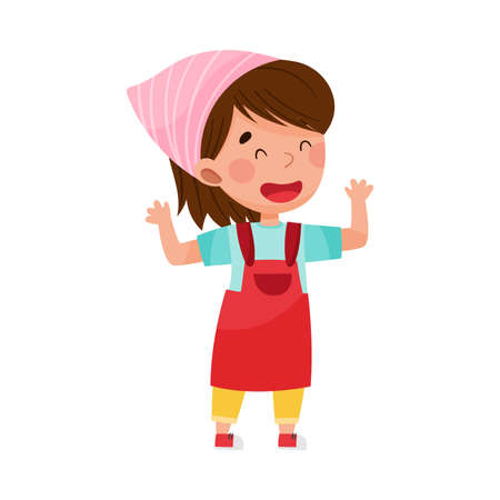 Cute Girl Character in Headkerchief and Apron Standing at Kitchen Vector Illustration. Kid Chef Engaged in Cooking Concept