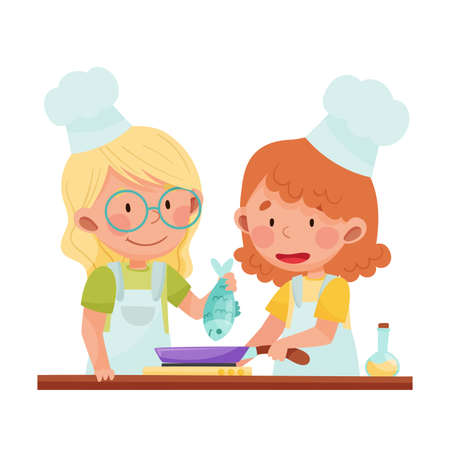 Happy Girl Chef Characters Wearing Apron and Hat Frying Fish on Frying Pan Vector Illustration. Little Kids Cooking and Preparing Food Concept Illustration