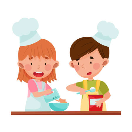 Cute Girl and Boy Chef Characters Wearing Apron and Hat Beating Eggs in Bowl Vector Illustration. Little Kids Cooking and Preparing Food Together Concept Illustration