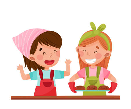 Cheerful Girl Chef Characters Wearing Apron Carrying Baked Buns Vector Illustration. Little Kids Cooking and Preparing Food Together Concept