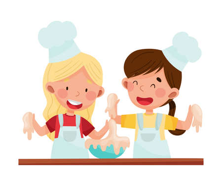 Smiling Girl Chef Characters Wearing Apron and Hat Kneading Dough Vector Illustration. Little Kids Cooking and Preparing Food Concept Vectores
