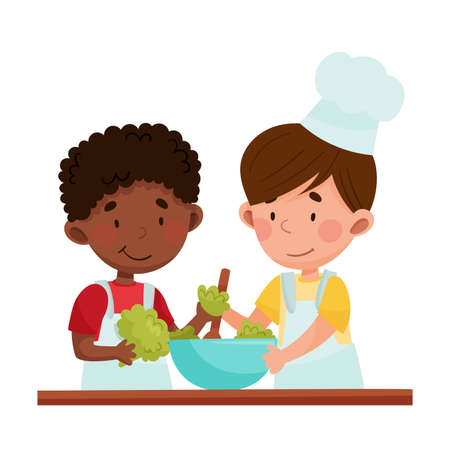 Happy Boy Chef Characters Wearing Apron and Hat Cooking Salad with Broccoli Vector Illustration. Little Kids Preparing Food Together Concept