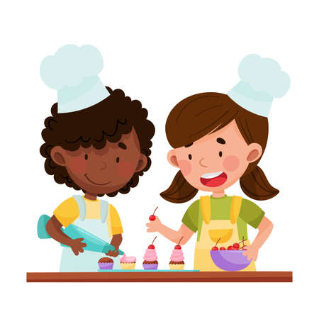 Happy Girl Chef Characters Wearing Apron and Hat Decorating Cupcakes with Cherry and Whipped Cream Vector Illustration. Little Kids Cooking and Preparing Food Together Concept 일러스트