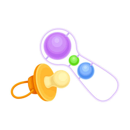 Noisy Baby Rattle and Baby Teat as Pacifying Object Illustration. Nursery or Children Room Accessory