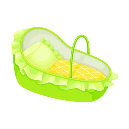 Blue Carrycot or Basket for Carrying Baby Illustration. Bassinet for Transportation Concept