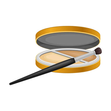 Facepowder as Decorative Cosmetics or Color Cosmetics  Illustration. Female Stuff for Coloring Face and Applying Makeup