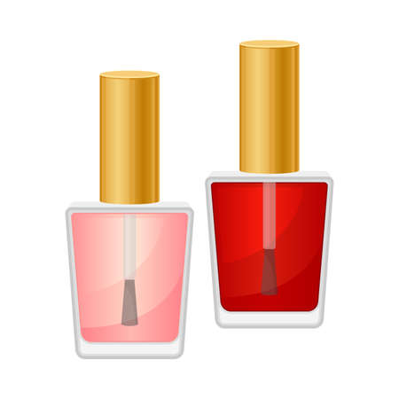 Nail Polish Bottle as Decorative Cosmetics or Color Cosmetics Illustration. Female Stuff for Coloring Face and Applying Makeup