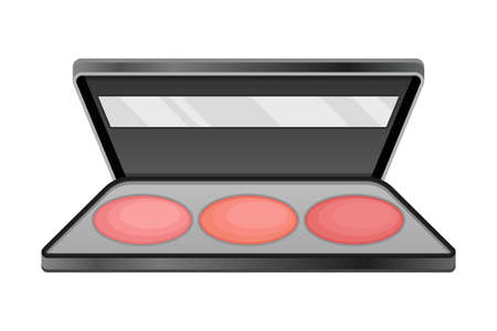 Eye Shadow Palette as Decorative Cosmetics or Color Cosmetics Illustration. Female Stuff for Coloring Face and Applying Makeup