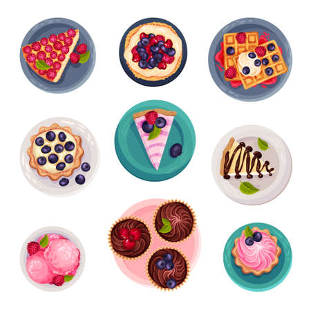 Desserts with Gaufre or Waffle and Tartlets Served on Plate Set. Sweet Course with Berries and Creamy Topping View from Above