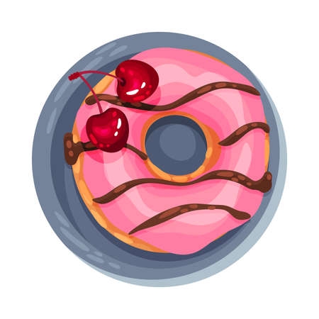 Doughnut with Icing and Cherry as Dessert Served on Plate Illustration. Sweet Course with Berries and Sugary Topping View from Above