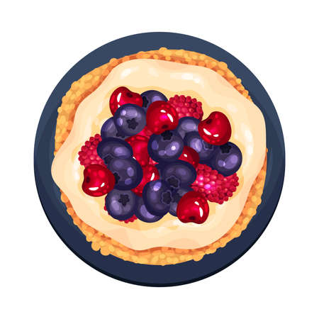Tartlet or Small Pie with Blueberry and Raspberry as Dessert Served on Plate Illustration. Sweet Course with Berries and Sugary Topping View from Above Vektoros illusztráció